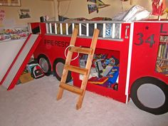 Fire Engine Bed Ladder Tent Red Boys Loft Fireman Sam Bedroom Free Shipping N