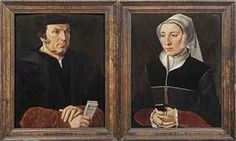 CIRCLE OF PIETER POURBUS (GOUDA 1523/24-1584 BRUGES) A DIPTYCH: LEFT WING: PORTRAIT OF LEONARD (LENAERT) VAN CASEMBROOT (1495-1558), BURGOMASTER OF BRUGES, HALF-LENGTH, IN A BLACK COAT AND A BLACK HAT, HOLDING A LETTER IN HIS RIGHT HAND, INSRIBED 'ALI QUOANDO CAPITE'; RIGHT WING: PORTRAIT OF (POSSIBLY) GODELIEVE BREST (1510-1570), HALF-LENGTH, IN A BLACK DRESS AND A WHITE CAP, HOLDING A PRAYER BOOK IN HER HANDS, INSCRIBED 'ET AGITE'