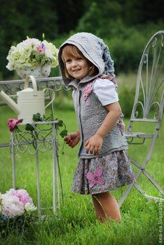 Феечка - серый,валяный жилет,детский жилет,шерстяной жилет,шерсть 100%