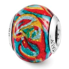 Sterling Silver Reflection Multi-color w/Glitter Overlay Italian Bead