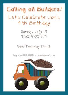 Garbage Truck or Dump Truck Party Package