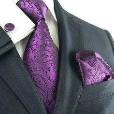 Landisun 331 Dark Purple Paisleys Mens Silk Tie Set: Tie Hanky Cufflinks