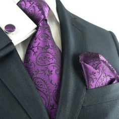 Landisun 331 Dark Purple Paisleys Mens Silk Tie Set: Tie+Hanky+Cufflinks