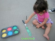 Homemade sidewalk chalk paint! I almost bought the Crayola version of this at Target the other day... I'm excited to try this stuff!! (I mean... I think the GIRLS will be excited to try this stuff) ;-)