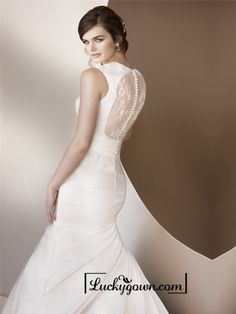 Buy Luxury Trumpet Queen Anne Neckline Wedding Dresses with Illusion Keyhole Back Online Dress Store At LuckyGown.com
