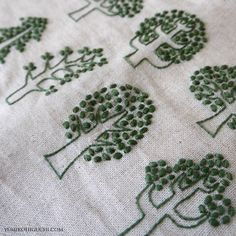 Green trees : Embroiderer: Yumiko Higuchi | Source: Hadnmade Works - Yumiko Higuchi | #embroidery #french knots