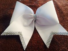 White with Rhinestones Cheer Bow by TheMegaBowDepot on Etsy
