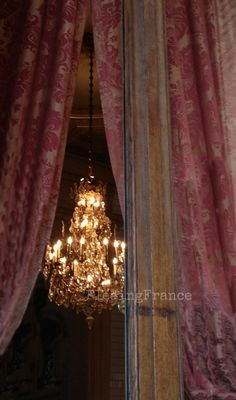 chandelier, curtain, frame window - elegant age