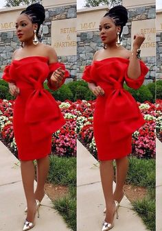 DaysCloth Red Bow Backless Off Shoulder Bodycon Short Sleeve Party Midi Dress Elegant Dresses, Sexy Dresses, Dresses For Sale, Beautiful Dresses, Dress Outfits, Short Dresses, Fashion Outfits, African Fashion Dresses, African Dress