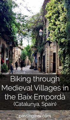 E-biking through medieval villages in the Baix Empordà region of Catalunya, Spain