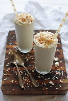 Up for a healthy milkshake?  This toasted coconut mikshake is a must try!