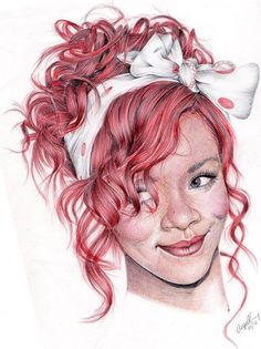 rihanna biro portrait by angelfaces1986