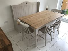 Solid Oak Table Set with Monks Bench – Ely Farmhouse Furniture Dining Table Bench Seat, Painted Dining Room Table, Solid Oak Dining Table, Oak Table Top, Kitchen Table Bench, Dining Table With Bench, Farmhouse Dining Chairs, Pine Table, Rustic Table
