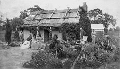 """""""Henry Smith and family in front of a wooden house with a bark roof at Green Park,"""" Horsham, Victoria, ca. via The Biggest Family Album in Australia and Museums Victoria (under CC… Henry Smith, Vintage Landscape, Green Park, Family Album, Wooden House, Big Family, Old And New, Front Porch"""