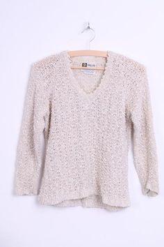 ec26694b0ca998 Hess Natur Womens 38 40 M Jumper Cotton Striped Sweater Vintage -  RetrospectClothes