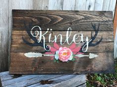 Rustic Large Nursery Name Arrow and Antlers personalized reclaimed pallet wood sign little girl room boho flowers hand painted - Boy Girl Names - Rustic Large Nursery Name Arrow and Antlers by WehuntWoodDecor Nursery Name, Girl Nursery, Girl Room, Baby Room, Nursery Room, Country Baby Names, Cute Baby Names, Kid Names, Rustic Boy Names