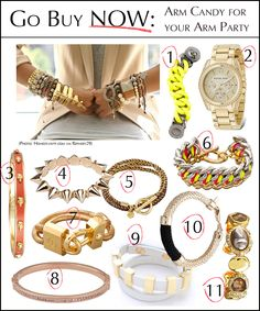 "1: Marc by Marc Jacobs ""Katie Exploded Bracelet""  2: MICHAEL Michael Kors ""Gold Plated Stainless Steel Chronograph Watch""  3: Alexander McQueen ""3D Skull Cuff""  4: CC Skye ""Mercy Spike Bracelet""  5: Gorjana ""Kingston Wrap Bracelet""  6: CC Skye ""Natalie Bracelet""  7: Tory Burch ""Lock Bracelet""  8: Michael Kors ""Pave Hinge Bangle""  9: Sass & Bide ""The Abyss Cuff""  10: Orly Genger by Jaclyn Mayer ""Crosby Cast Rope Bracelet""  11: Alexis Bittar ""Crystal-Encrusted Station Cuff"""