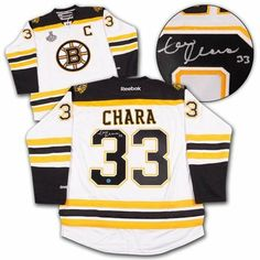 ZDENO CHARA Boston Bruins SIGNED Premier Jersey with 2011 Stanley Cup Patch . $445.55. This is an official licensed SIGNED Zdeno Chara Boston Bruins jersey. The jersey is brand new with all of the lettering and numbering professionally sewn on. The player has beautifully signed the number. To protect your investment, a Certificate Of Authenticity and tamper evident hologram from A.J. Sports World is included with your purchase.