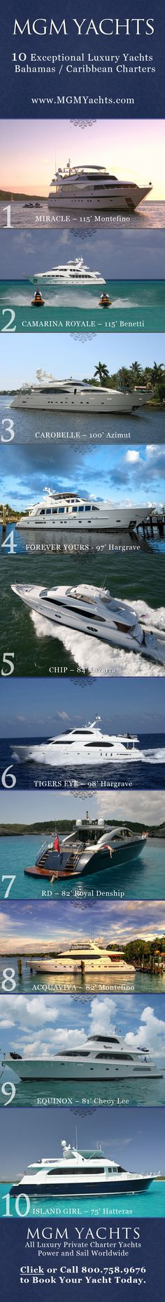 Here at MGM Yachts we put together our list 10 exceptional luxury Motor Yachts…