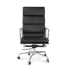 ARTIS DÉCOR Soft Pad Low and High Back Executive Office Chair Made with Upholstered Genuine Italian Leather, Swivel and Polished Aluminium Frame - High Back Black