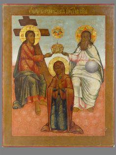 Антиквариат. антикварная Икона «Коронование Пресвятой Богородицы»