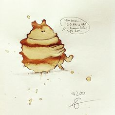 Artist Uses Coffee Spills To Create Cute Coffee Monsters