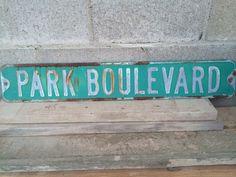 Vintage Metal Street Sign, Park Boulevard, Original, Green and White on Etsy, $65.00