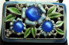 Vintage Signed CORO Brooch Pin Blue Moon by BrightgemsTreasures, $49.50