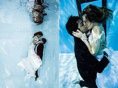 Idéia inovadora para o books de noivos: ensaio subaquático!   Rodrigo Simas e Juliana Paiva encenam momento romântico (Foto: Neto Fernandez / Divulgação)