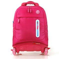 NEW Wheelpak Rolling Wheeled Backpack Travel Bag Kids School Bookbag Basic_Pink / EBAY ID, STORE - iamtov