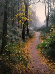 116 Landscape Oil Paintings By Russian Artist Roman Bozhkov Russian Landscape, Landscape Art, Landscape Paintings, Unique Drawings, Forest Path, Fantasy Forest, Watercolor Trees, Painting Inspiration, Modern Art