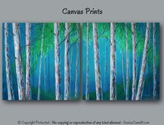 Abstract birch tree canvas prints, Large wall art, Teal home decor, Turquoise blue and green, Master bedroom, living room, office decor by ArtFromDenise on Etsy https://www.etsy.com/listing/177518649/abstract-birch-tree-canvas-prints-large