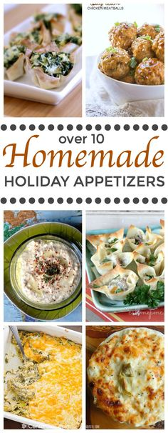 Over 10 Homemade Holiday Appetizers for your holiday gathering.