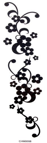 Waterproof tattoo sticker female black flowers and plum sexy waistline flower totem