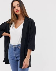 Shop ASOS DESIGN easy relaxed blazer in textured jersey. With a variety of delivery, payment and return options available, shopping with ASOS is easy and secure. Shop with ASOS today. Asos, Coats For Women, Jackets For Women, Batwing Dress, Checked Blazer, Check Dress, Striped Midi Dress, Casual Blazer, Blazer Dress