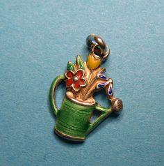 Antique Norwegian Silver Enamel Watering Can & Flower Charm