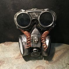 Steampunk Respirator Gas Mask And Goggles, Post Apocalyptic Survival, Mad Max, Burning Man, Wasteland Style With Flip Up Goggles by Steampunkbyben on Etsy