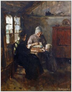 Albert Neuhuys (Dutch, 1834-1914) «The sewing team»