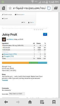 Juicy fruit gum flavored ejuice recipe