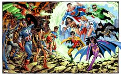 Cool crossover between modern-day JLA and the Batman/Captain America 1940s-era team-up, by artist John Byrne.