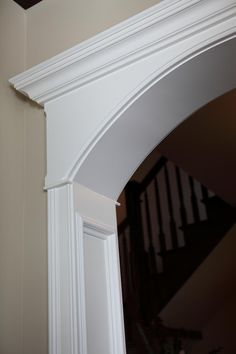 Battaglia Homes - the very best in Interior Trim (Part I – crown molding - window/door casings – cased openings) - Battaglia Homes Custom Builder. Would have in the Door Entry to/From Dining/ to Kitchen. Door Molding, Moldings And Trim, Moulding, Archway Molding, Window Crown Moldings, Farmhouse Trim, Farmhouse Ideas, Arch Doorway, Doorway Ideas