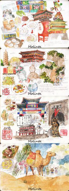 Moleskine travel journal watercolor #art #journal #monlinta