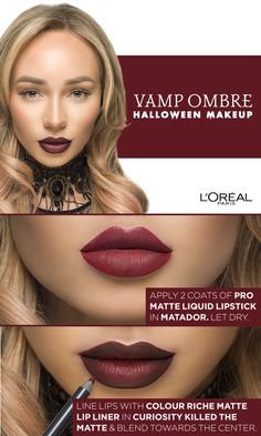 Red Ombre Vampire Lips Halloween Makeup Tutorial using new Infallible Pro Matte Liquid Lipstick and Colour Riche Matte Lip Liner. Click the link for a video tutorial by Liza Lash.