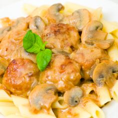 Italian Penne Pasta with Meatballs and Mushrooms