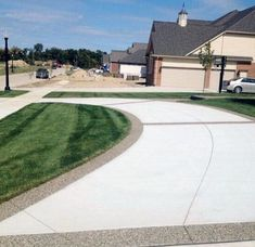 From simplistic entrances to high-end mansion constructions, discover the top 50 best concrete driveway ideas. Concrete Patios, Stamped Concrete Driveway, Concrete Patio Designs, Modern Driveway, Driveway Design, Driveway Ideas, Driveway Border, Home Landscaping, Front Yard Landscaping