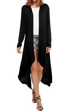 Women's Cardigans - Meaneor Womens Long Sleeve Waterfall Asymmetric Drape Open Long Maxi Cardigan >>> Want additional info? Click on the image.