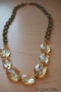 Chunky Yellow Bead & Chain Necklace | My Girlish Whims