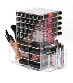 The luxe spinning lipstick and blush tower holds 60 of your favorite lipsticks and 16 compact blushes. The two side compartments has a divider offering you a generous amount of space for blushes, penc