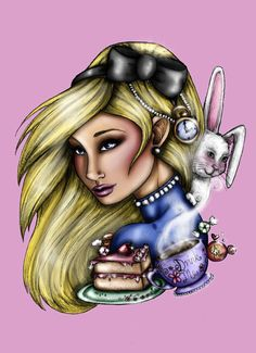 Alice in Wonderland Pink A4 Art Print by Hungry by HungryDesigns
