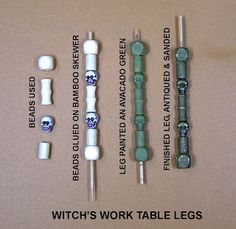series of beads used to make fancy table legs (minus the witchy parts for me!)